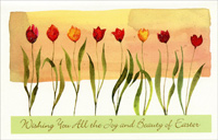 Eight Glitter Accented Tulips (1 card/1 envelope)  Easter Card