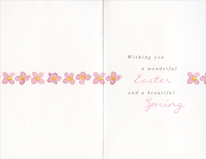 Pink & Yellow Flowers and Butterflies (1 card/1 envelope) Easter Card - FRONT: Happy Easter - May you enjoy all the beauty that comes with Springtime.  INSIDE: Wishing you a wonderful Easter and a beautiful Spring.