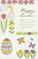 Pink & Yellow Flowers and Butterflies (1 card/1 envelope) - Easter Card