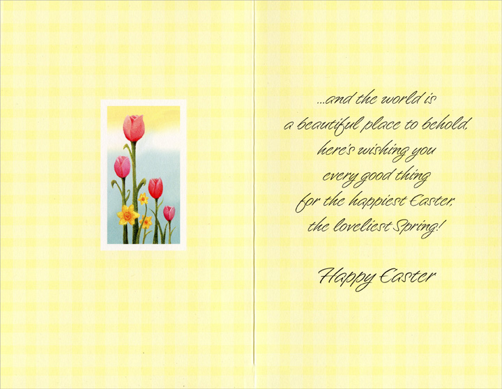 Glitter Lilies and Tulips: New Wonders (1 card/1 envelope) - Easter Card - FRONT: As new wonders appear, new joys unfold�  INSIDE: �and the world is a beautiful place to behold, here's wishing you every good thing for the happiest Easter, the loveliest Spring! Happy Easter