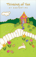 Pink Home and White Fence: Thinking of You (1 card/1 envelope) - Easter Card - FRONT: Thinking of You at Eastertime  INSIDE: Thinking of you at Eastertime And want you to know it� So, I'm sending you this greeting As a special way to show it! Happy Easter