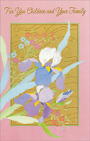 Flowers on Gold: Children & Family (1 card/1 envelope) - Easter Card