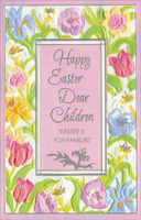 Silver Foil Accents on Embossed Flowers: Children (1 card/1 envelope)  Easter Card