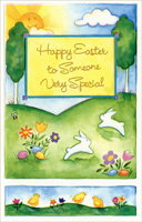 Two Panel Hillside, Flowers, and Bunnies: Someone Special (1 card/1 envelope) - Easter Card