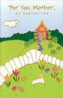 Pink Home and White Fence: Mother (1 card/1 envelope)  Easter Card