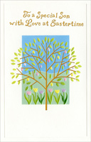 Gold Foil Tree over Tulips: Son (1 card/1 envelope) - Easter Card