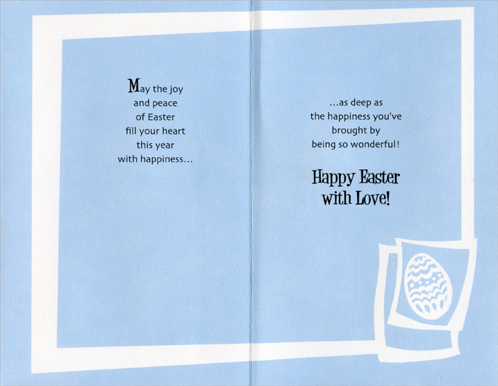 3 Embossed Silver Foil Eggs: Son (1 card/1 envelope) Easter Card - FRONT: Happy Easter to a Wonderful Son  INSIDE: May the joy and peace of Easter fill your heart this year with happiness… …as deep as the happiness you've brought by being so wonderful! Happy Easter with Love!