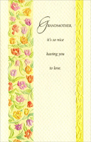 Embossed Column of Flowers: Grandmother (1 card/1 envelope) - Easter Card