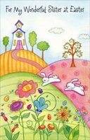 Church on Rolling Hills, Bunnies, & Flowers: Sister (1 card/1 envelope)  Easter Card