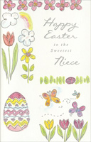 Pink & Yellow Flowers and Butterflies: Niece (1 card/1 envelope)  Easter Card