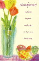 Watercolor Tulips in Tall Vase: Grandparents (1 card/1 envelope) - Easter Card