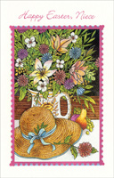 Straw Hat & Flowers in Cup: Niece (1 card/1 envelope) - Easter Card