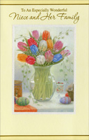 Tulips in Glass Vase: Niece (1 card/1 envelope)  Easter Card