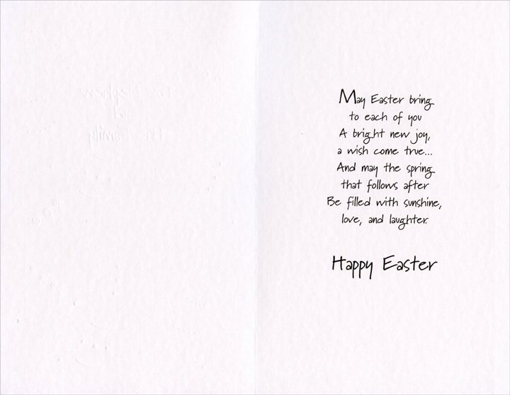 Pastel Eggs on Light Green: Nephew (1 card/1 envelope) - Easter Card - FRONT: For Nephew and His Family  INSIDE: May Easter bring to each of you A bright new joy, a wish come true� And may the spring that follows after Be filled with sunshine, love, and laughter. Happy Easter