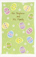 Pastel Eggs on Light Green: Nephew (1 card/1 envelope) - Easter Card