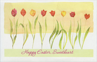 Eight Glitter Accented Tulips: Sweetheart (1 card/1 envelope) - Easter Card