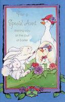 Mother Goose and Bunnies: Aunt (1 card/1 envelope) - Easter Card - FRONT: For a Special Aunt Wishing you all the joys of Easter  INSIDE: Sending happy wishes and a sunny warm hello to an Aunt who's very special and so wonderful to know. Happy Easter