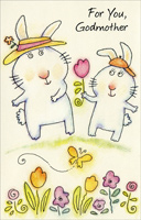 Two Cute Bunnies: Godmother (1 card/1 envelope)  Easter Card