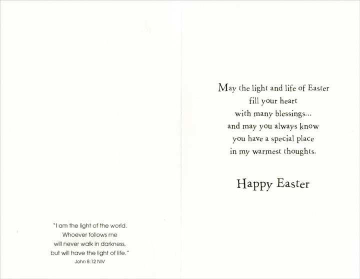 Trees on Rolling Hills: Godfather (1 card/1 envelope) Easter Card - FRONT: Easter Blessings for You, Godfather  INSIDE: May the light and life of Easter fill your heart with many blessing� and may you always know you have a special place in my warmest thoughts. Happy Easter - �I am the light of the world. Whoever follows me will never walk in darkness, but will have the light of life.� John 8:12 NIV