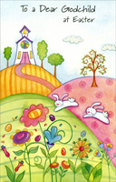 Church on Rolling Hills, Bunnies, & Flowers: Godchild (1 card/1 envelope)  Easter Card