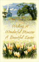 Church and Tulips: Minister (1 card/1 envelope)  Easter Card