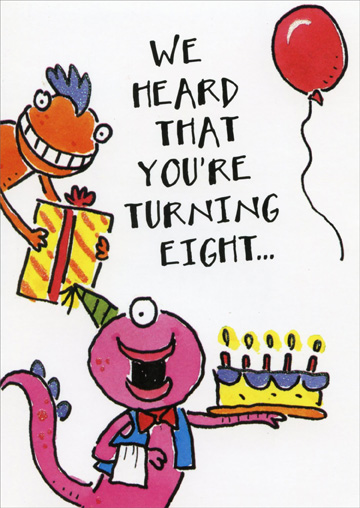 Birthday Monsters: Turning 8 (1 card/1 envelope) Freedom Greetings 8th Birthday Card - FRONT: We heard that you're turning eight�  INSIDE: �so let's celebrate! Happy Birthday!