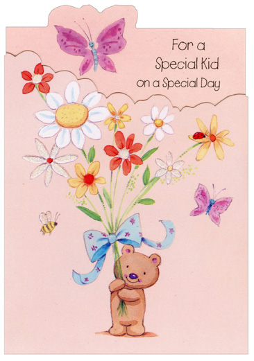 Little Bear Holding Large Flowers: Special Kid (1 card/1 envelope) Freedom Greetings Birthday Card - FRONT: For a Special Kid on a Special Day  INSIDE: A whole bunch of wishes for lots of fun, Hope your birthday is a real happy one!