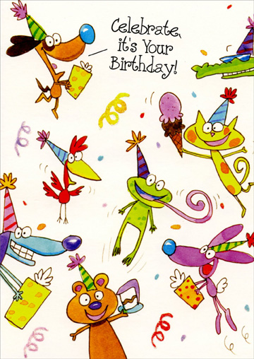 Animals With Ice Cream, Presents & Cake (1 card/1 envelope) Freedom Greetings Birthday Card - FRONT: Celebrate, it's your birthday!  INSIDE: Celebrate it right with friends and family, presents, candles, cake and more!! Happy Birthday!