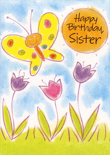Butterfly & Tulips: Sister (1 card/1 envelope) Freedom Greetings Birthday Card - FRONT: Happy Birthday, Sister  INSIDE: You're really nice as can be and a whole lot of fun, too�  So here's a great big birthday wish with hugs and kisses just for you! Happy Birthday!