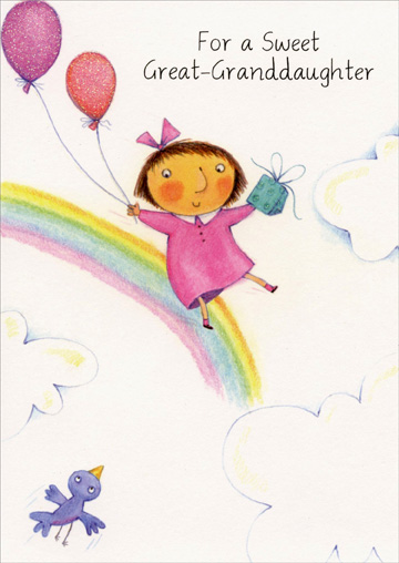 Girl Sliding Down Rainbow: Great Granddaughter (1 card/1 envelope) Freedom Greetings Birthday Card - FRONT: For a Sweet Great-Granddaughter  INSIDE: Wishing you a fun-filled day and a special kind of year with a very special love because you're a Great-Granddaughter who's so precious and dear. Happy Birthday