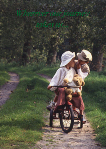 Two Children Riding On Tricycle (1 card/1 envelope) Freedom Greetings Love Card - FRONT: Wherever our journey takes us�  INSIDE: I know I will love you even more than the moment it began.