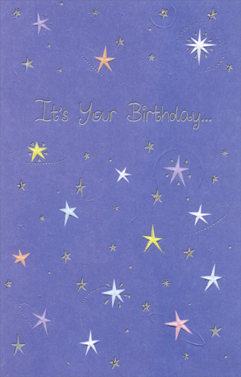 Stars On Purple Background (1 card/1 envelope) Freedom Greetings Birthday Card - FRONT: It's your birthday�  INSIDE: �reach for the stars!
