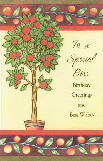 Orange Tree: Special Boss (1 card/1 envelope) Freedom Greetings Birthday Card - FRONT: To a Special Boss - Birthday greetings and best wishes  INSIDE: Wishing you many pleasant memories to reflect on, much to celebrate on your day and all good things in the year ahead. Happy Birthday