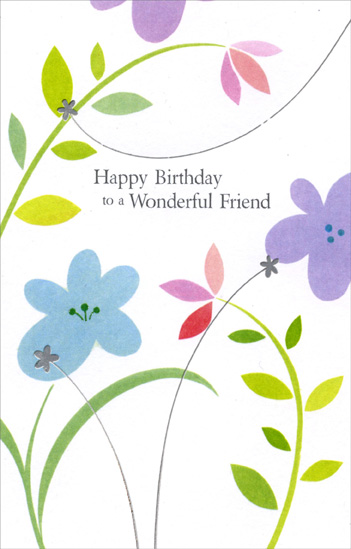 Flowers and Vines On White: Friend (1 card/1 envelope) - Birthday Card - FRONT: Happy birthday to a wonderful friend  INSIDE: Because you're someone special and always will be, too� These very special wishes come from the heart to you. Happy Birthday