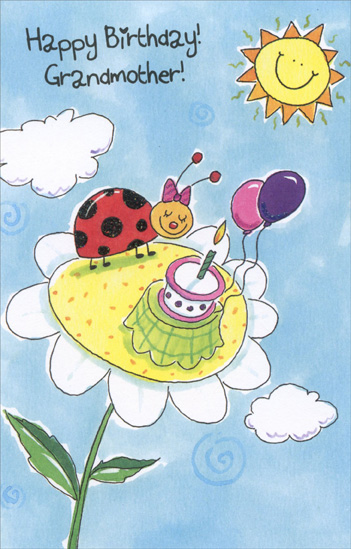 Ladybug Birthday on Flower: Grandmother (1 card/1 envelope) - Birthday Card - FRONT: Happy Birthday! Grandmother!  INSIDE: I love you and wish your birthday is filled with fun and happiness. Happy Birthday!