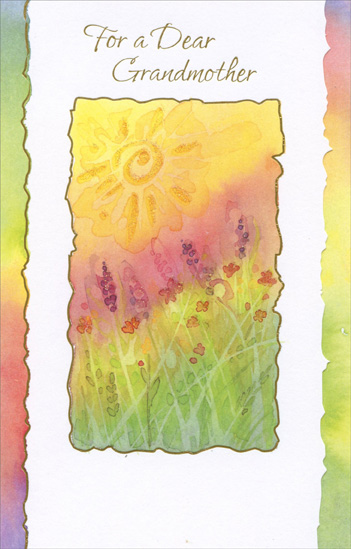 Sun and Colorful Flower Field: Grandmother (1 card/1 envelope) Freedom Greetings Birthday Card - FRONT: For a Dear Grandmother  INSIDE: Remembering nice things you've done… Loving you for every one… Wishing you a beautiful day all the way. Happy Birthday