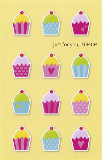 Cupcakes On Yellow: Niece (1 card/1 envelope) Freedom Greetings Birthday Card - FRONT: just for you, niece  INSIDE: happy birthday, cupcake!