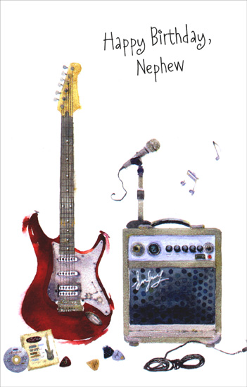 Red Electric Guitar: Nephew (1 card/1 envelope) Freedom Greetings Birthday Card - FRONT: Happy Birthday, Nephew  INSIDE: A little rock'n'roll just for you on your birthday!