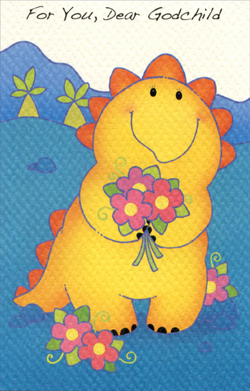 Yellow & Orange Dinosaur: Godchild (1 card/1 envelope) Freedom Greetings Birthday Card - FRONT: For You, Dear Godchild  INSIDE: Hope every wish you make When you blow out the candles on your cake come true! Happy Birthday!