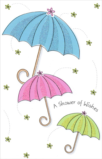 three umbrellas shower of wishes 1 card1 envelope bridal shower
