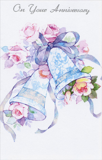 Pink Roses & Bells: Anniversary (1 card/1 envelope) Freedom Greetings Anniversary Card - FRONT: On Your Anniversary  INSIDE: Day by day with each new memory, Your love has grown and become more beautiful and precious. Congratulations