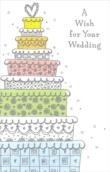 Nine Tiered Wedding Cake (1 card/1 envelope) Freedom Greetings Wedding Card - FRONT: A Wish for Your Wedding  INSIDE: When you toast one another on your wedding day, may the light you see in one another's eyes reflect the love you feel in your hearts. Congratulations to You Both