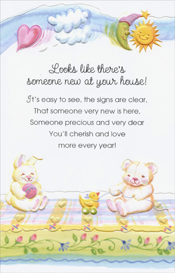 Bear and Bunny On Blanket: Someone New (1 card/1 envelope) Freedom Greetings New Baby Card - FRONT: Looks like there's someone new at your house! It's easy to see, the signs are clear, That someone very new is here, Someone precious and very dear You'll cherish and love more every year!  INSIDE: May your joy keep on growing a lifetime through in a beautiful future for all of you. Congratulations