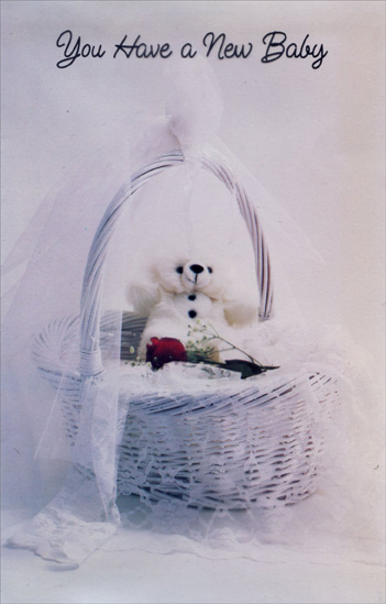 Bear and Red Rose In Basket (1 card/1 envelope) Freedom Greetings New Baby Card - FRONT: You have a new baby  INSIDE: Each moment is filled with new miracles, Each day is filled with new joys When you have a new baby to love. Congratulations and Best Wishes to All of You