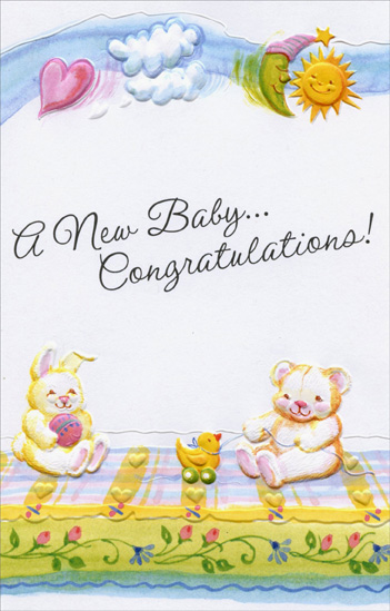 Bear and Bunny On Blanket: Congratulations (1 card/1 envelope) - New Baby Card - FRONT: A New Baby� Congratulations!  INSIDE: A world of love is ahead of you. May your joys be complete� May your dreams come true.