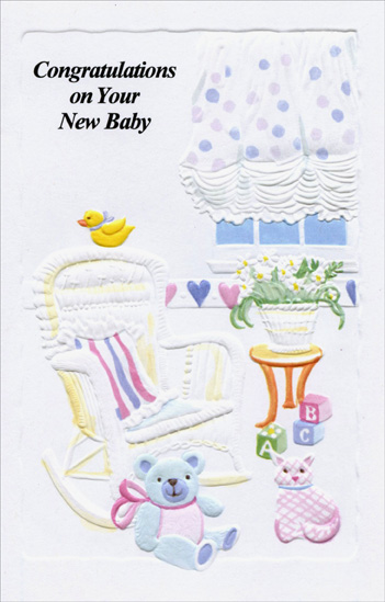 Baby Room With Rocking Chair (1 card/1 envelope) Freedom Greetings New Baby Card - FRONT: Congratulations on Your New Baby  INSIDE: So happy to know that your baby is here and there's nothing that's nicer to do than to hope that life brings all the happiest things to that dear little baby and you!