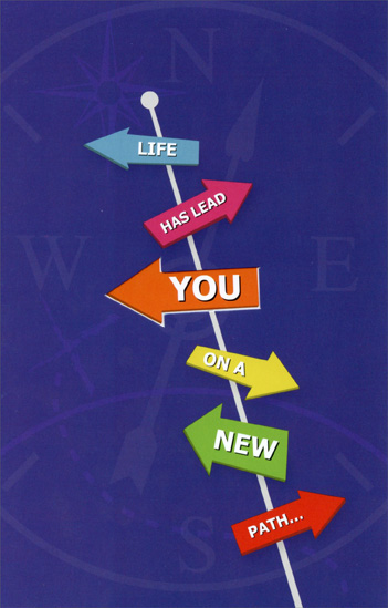 Road Signs: Life Has Lead You (1 card/1 envelope) Freedom Greetings New Job Congratulations Card - FRONT: Life Has Lead You On A New Path�  INSIDE: Kudos To You On Your New Job!