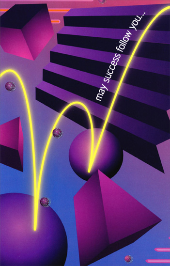 Shapes and Purple Stairs: May Success (1 card/1 envelope) Freedom Greetings New Job Congratulations Card - FRONT: may success follow you�  INSIDE: �every step of the way!  Congratulations on the new job!