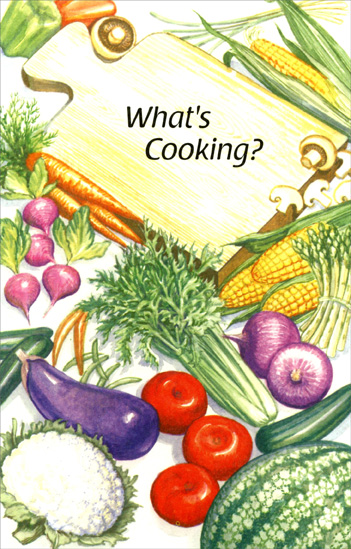What's Cooking? (1 card/1 envelope) Freedom Greetings Miss You Card - FRONT: What's Cooking?  INSIDE: I haven't heard from you in awhile, Please write.