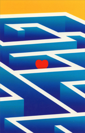 Heart In Maze (1 card/1 envelope) Freedom Greetings Miss You Card  INSIDE: I'm amazed at how lost I am without you.